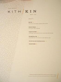 Kith and Kin Dessert Menu