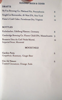 Kinship Beer, Cider & Mocktail List