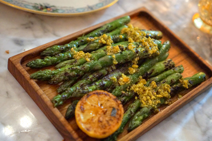 Grilled Asparagus. Pistachio Aillade