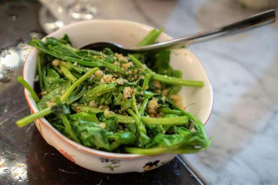 Sauteed Pea Tendrils. Lemon Breadcrumbs