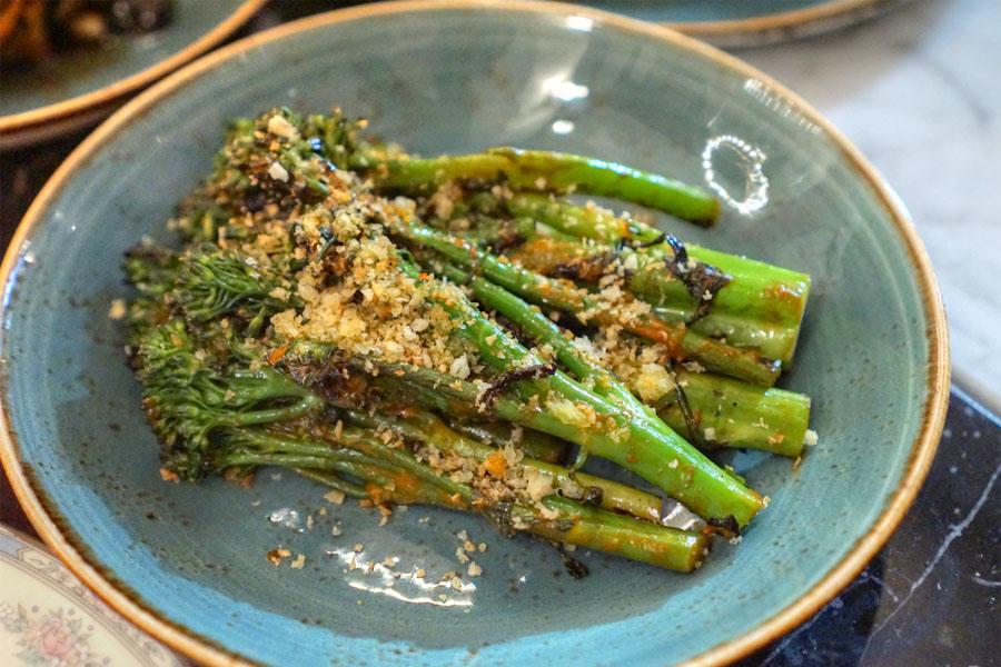 Broccolini. Chili Vinegar. Harissa. Bone Marrow Breadcrumbs