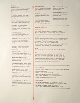 Breva Cocktail, Beer & Wines by the Glass List