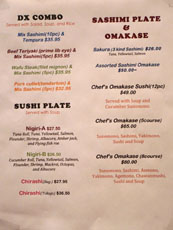 Kashiwa Menu: Combinations & Omakase