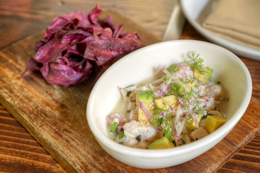 Local rock cod ceviche, avocado, radish, ginger, lime, purple sweet potato, benne seeds