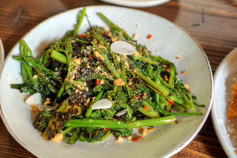 Broccolini, pickled garlic, peanuts, smoked chili vinegar