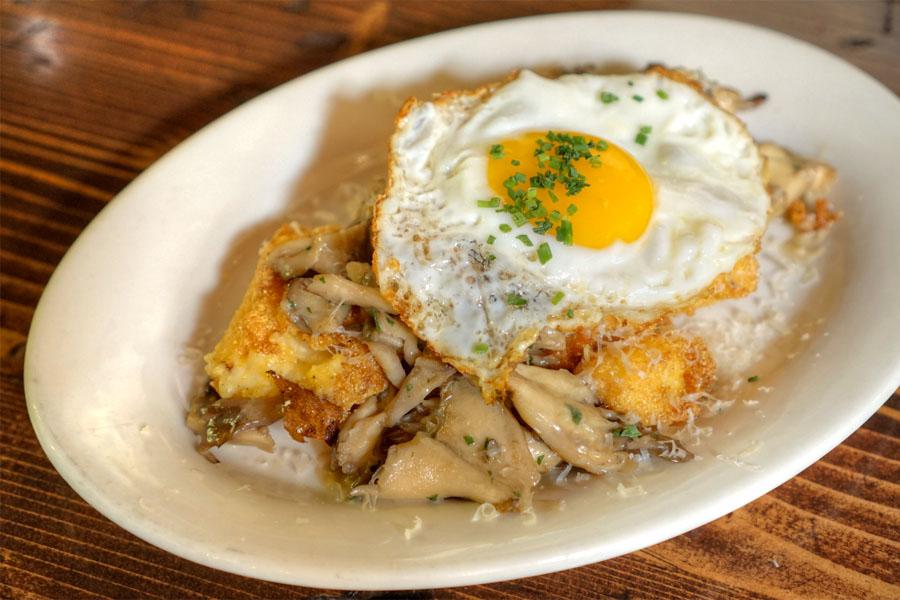 Crisp polenta, maitake ragu, fried egg, creme fraiche