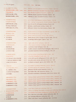 Bavel Wine List - Back
