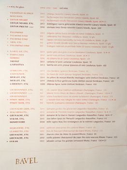 Bavel Wine List - Front