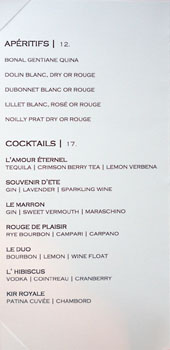 Patina Cocktail List