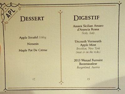 APL Restaurant Dessert Menu