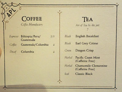 APL Restaurant Coffee and Tea List
