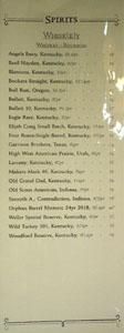 APL Restaurant Spirits List: Whiskey - Bourbon