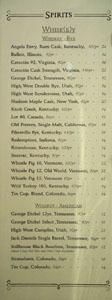 APL Restaurant Spirits List: Whiskey - Rye, Whiskey - American