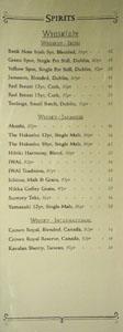 APL Restaurant Spirits List: Whiskey - Irish, Whisky - Japanese, Whisky - International