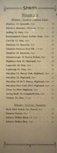 APL Restaurant Spirits List: Whisky - Scotch - Single Malt, Whisky - Scotch - Blended