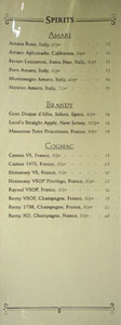 APL Restaurant Spirits List: Amari, Brandy, Cognac