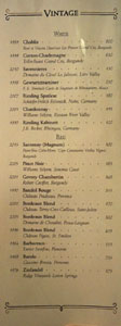 APL Restaurant Vintage Wine List