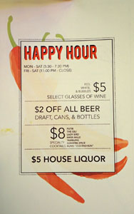 Kasih Happy Hour Menu