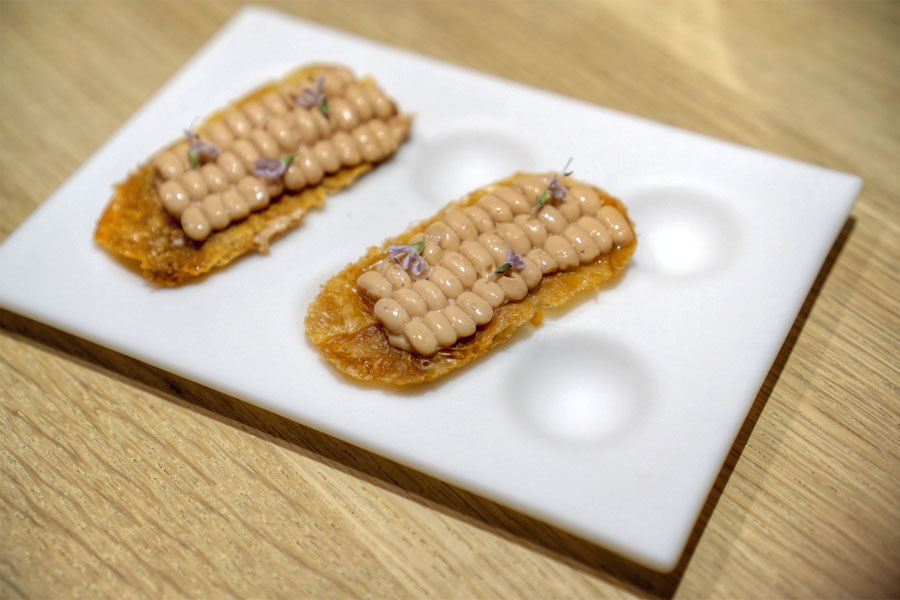 chicken skin with foie gras