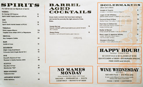 E.R.B. Spirits List, Barrel Aged Cocktails, Boilermakers