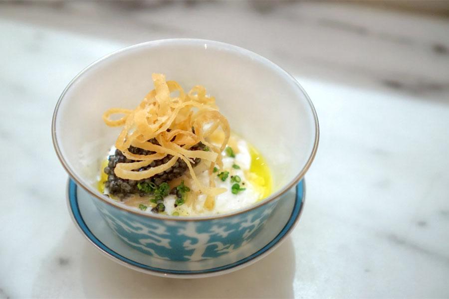 Pugliese burrata, Wellfleet oyster, Beluga caviar, cippolini onions