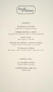 The Dabney Dessert Menu