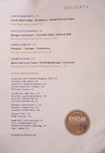 Kyirisan Dessert Menu