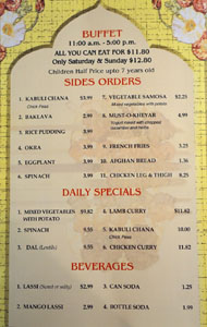 Kabob Palace 2 Menu: Buffet, Side Orders, Daily Specials, Beverages