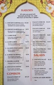 Kabob Palace 2 Menu: Kabobs, Combos, Salads