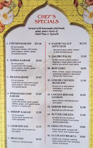Kabob Palace 2 Menu: Chef's Specials