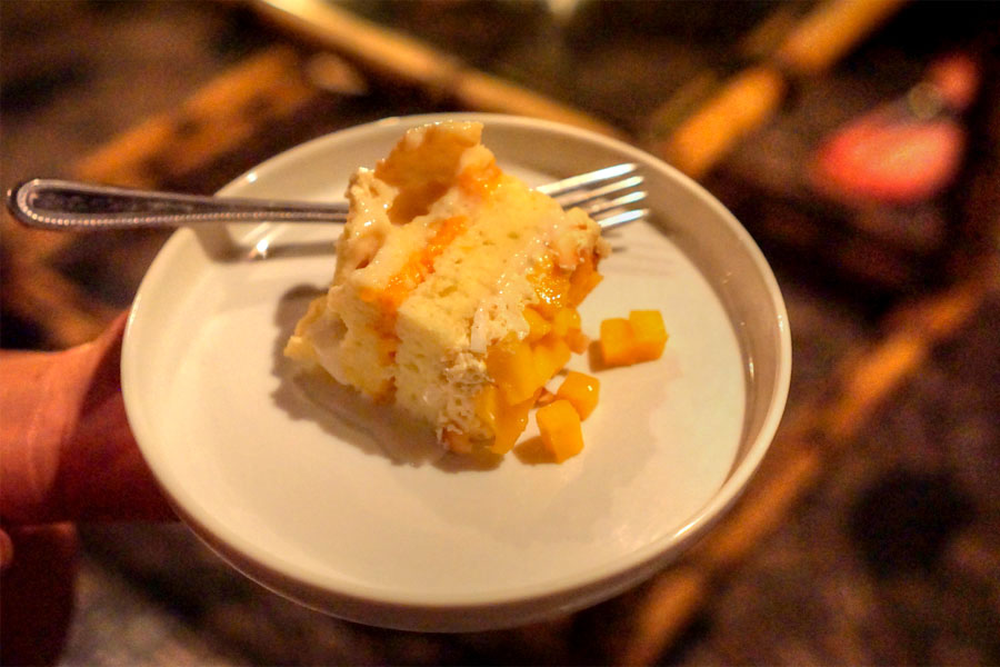 Mango-Coconut Tres Leches Cake (Sliced)