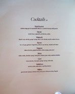 Chateau Hanare Cocktail List