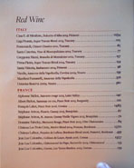 Chateau Hanare Red Wine List: Italy, France