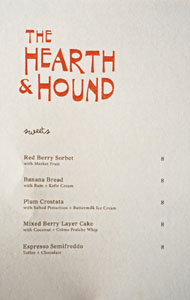 The Hearth & Hound Dessert Menu