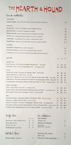 The Hearth & Hound Beverage List