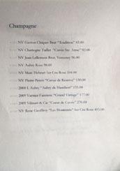 Hayato Wine List: Champagne