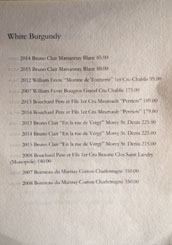 Hayato Wine List: White Burgundy