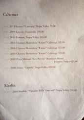 Hayato Wine List: Cabernet & Merlot