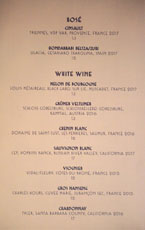 Simone Wine by the Glass List: Rosé, White Wine