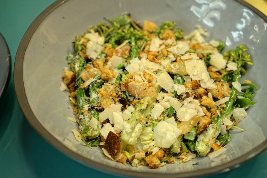 Grilled Brassicas Caesar, Torn Lemon Croutons