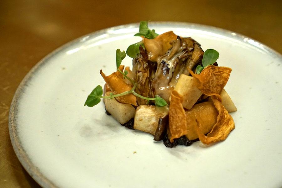 Brown Butter Maitake Mushroom, Turnip, Shallot-Miso
