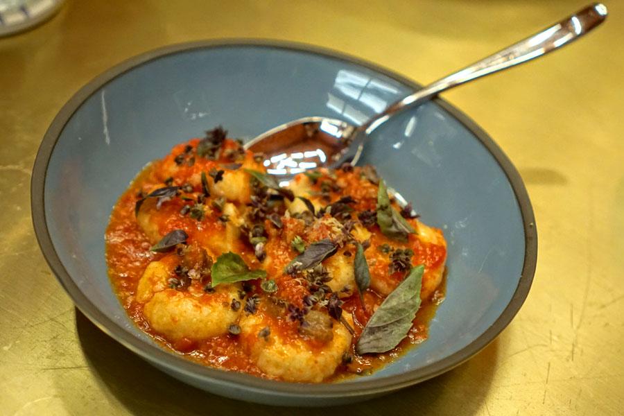 Ricotta Gnudi, Grated Tomato, Guanciale, Basil
