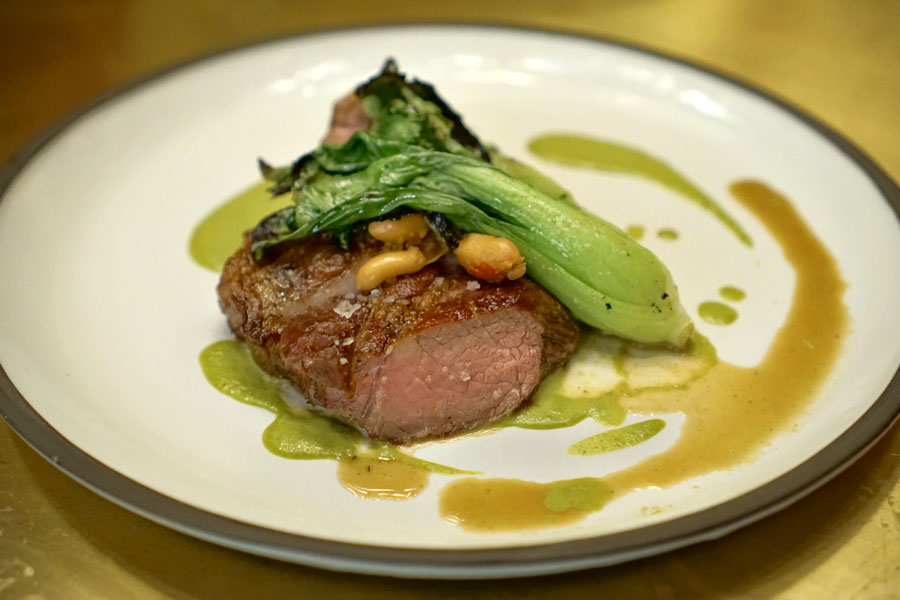 Pork Collar, Baby Bok Choy, Braised Fresh Peanuts, Lovage