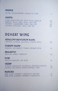 Simone Dessert Wine List