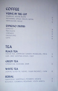 Simone Coffee & Tea List