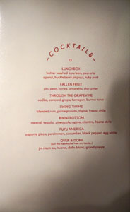 Alta Adams Cocktail List