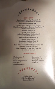 Alta Adams Beer & Cider List / Dessert Menu