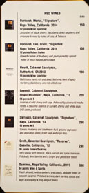 Bistro Na's Wine List: Red Wines
