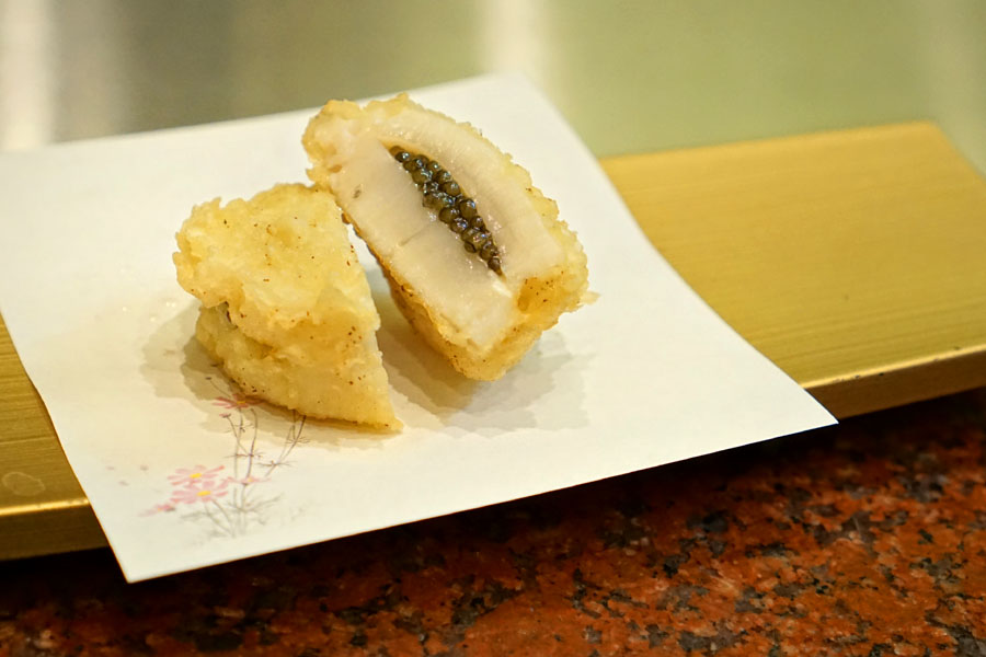 Scallop with Caviar Tempura