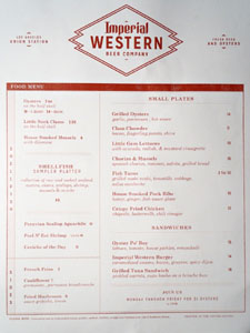 Imperial Western Beer Company Interior Menu
